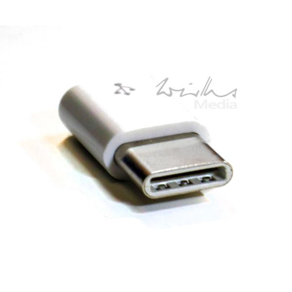 Raspeberry Pi Adapter micro USB Buchse - USB Type C Stecker weiß